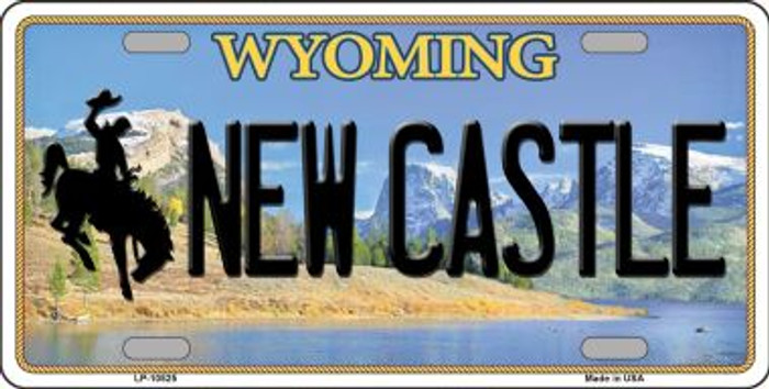 New Castle Wyoming Background Metal Novelty License Plate