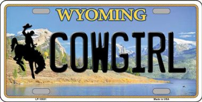 Cowgirl Wyoming Background Metal Novelty License Plate
