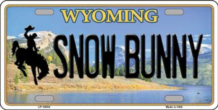 Snow Bunny Wyoming Background Metal Novelty License Plate