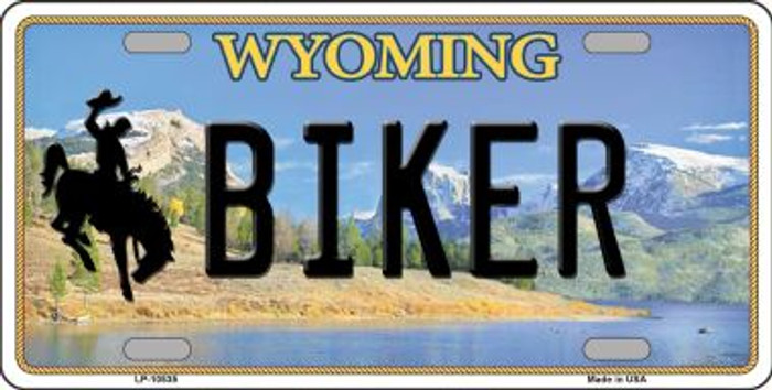 Biker Wyoming Background Metal Novelty License Plate