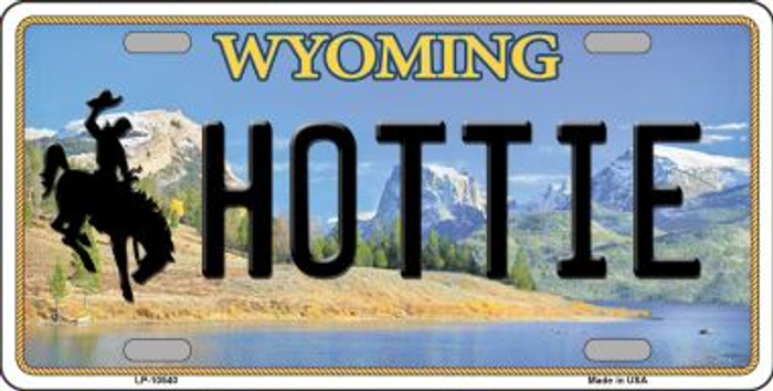 Hottie Wyoming Background Metal Novelty License Plate
