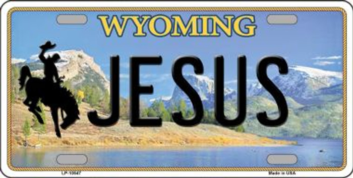 Jesus Wyoming Background Metal Novelty License Plate