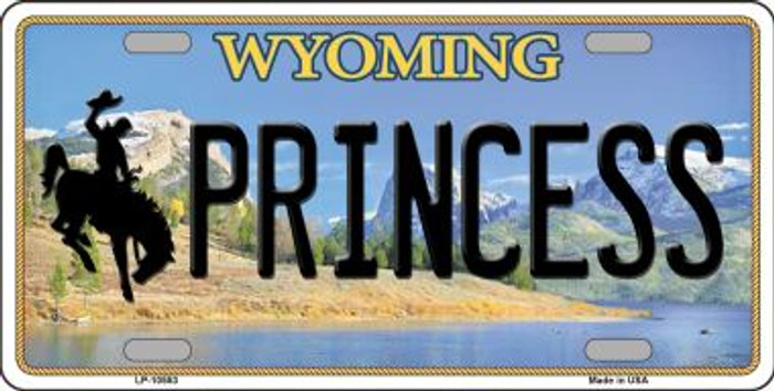 Princess Wyoming Background Metal Novelty License Plate