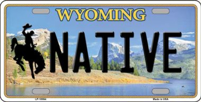 Native Wyoming Background Metal Novelty License Plate