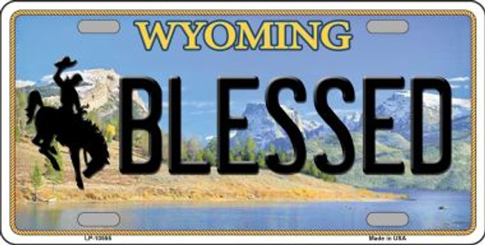 Blessed Wyoming Background Metal Novelty License Plate