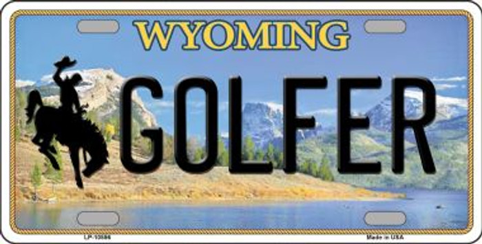 Golfer Wyoming Background Metal Novelty License Plate