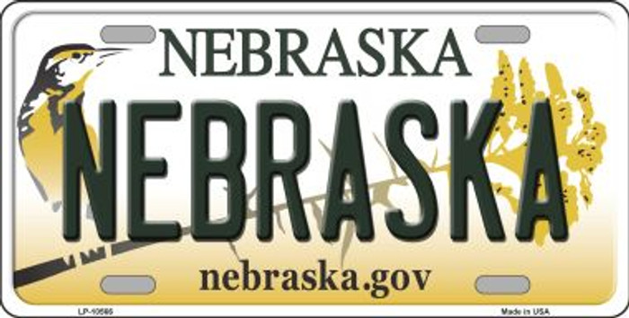 Nebraska Background Metal Novelty License Plate