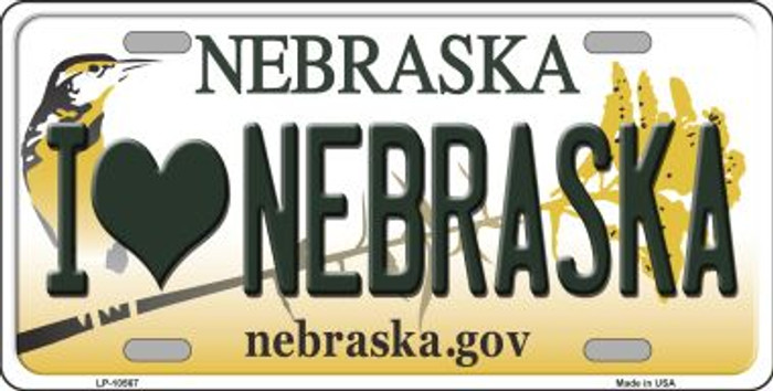 I Love Nebraska Background Metal Novelty License Plate