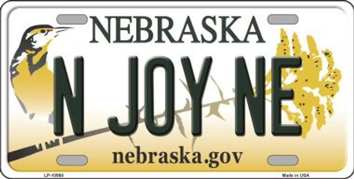 N Joy NE Nebraska Background Metal Novelty License Plate
