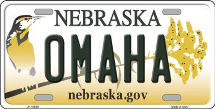 Omaha Nebraska Background Metal Novelty License Plate