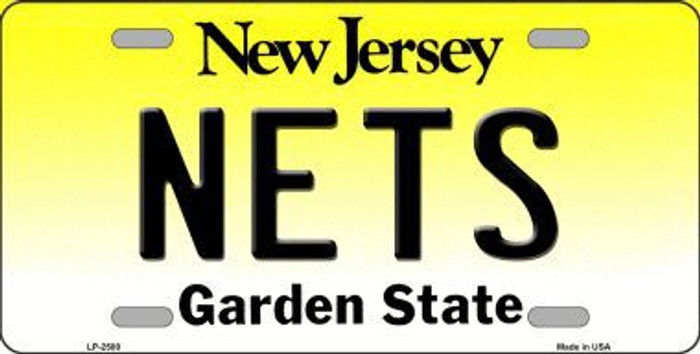 Nets New Jersey Novelty State Background Metal License Plate LP-2580