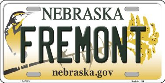 Fremont Nebraska Background Metal Novelty License Plate