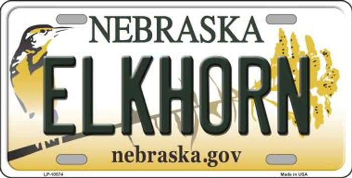 Elkhorn Nebraska Background Metal Novelty License Plate