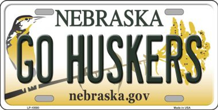 Go Huskers Nebraska Background Metal Novelty License Plate