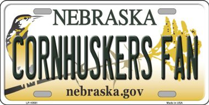 Cornhuskers Fan Nebraska Background Metal Novelty License Plate