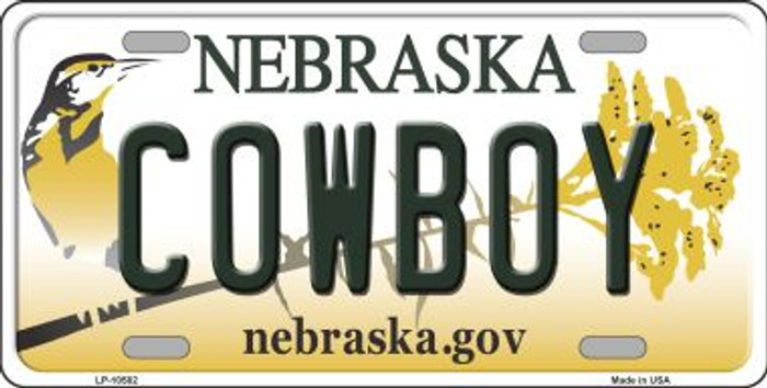 Cowboy Nebraska Background Metal Novelty License Plate