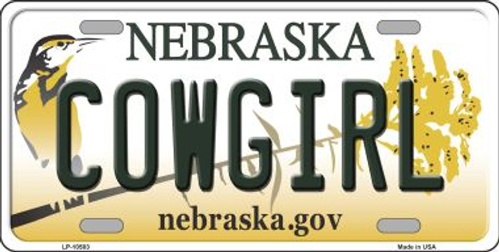 Cowgirl Nebraska Background Metal Novelty License Plate