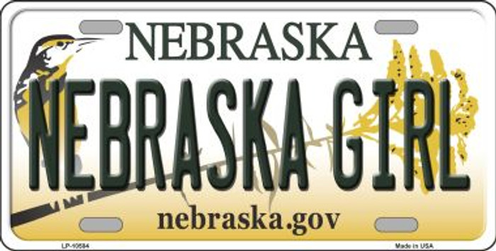Nebraska Girl Background Metal Novelty License Plate
