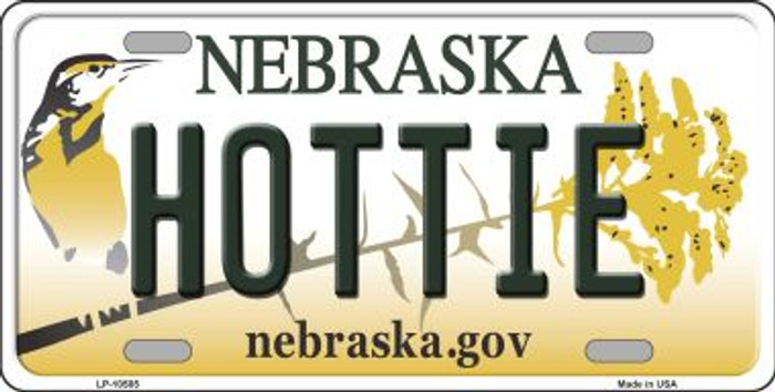 Hottie Nebraska Background Metal Novelty License Plate