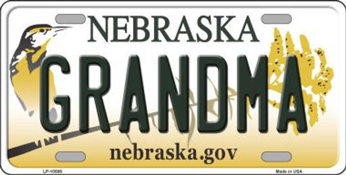 Grandma Nebraska Background Metal Novelty License Plate