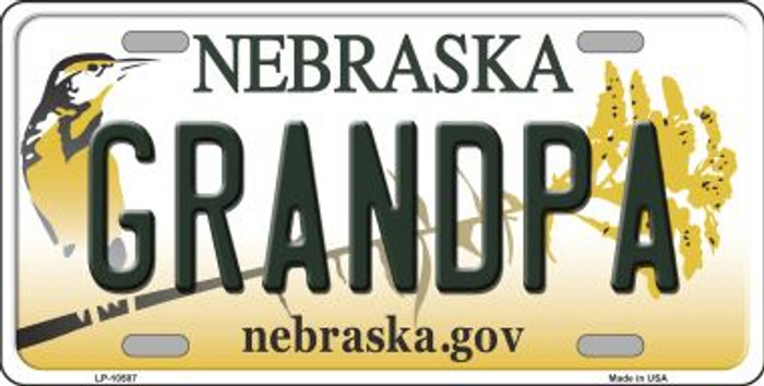 Grandpa Nebraska Background Metal Novelty License Plate