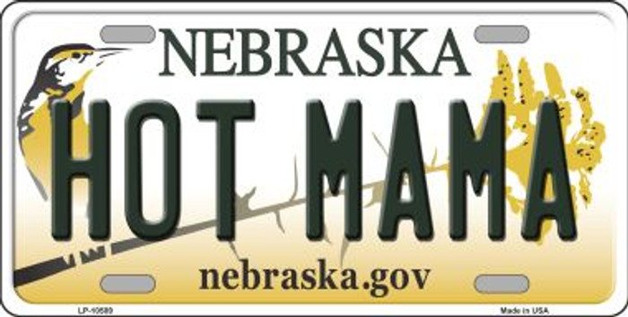 Hot Mama Nebraska Background Metal Novelty License Plate