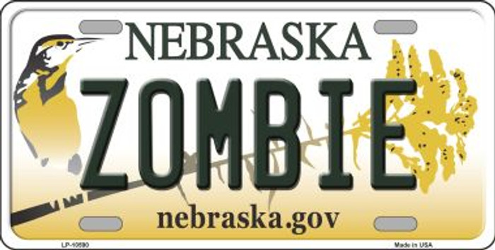 Zombie Nebraska Background Metal Novelty License Plate