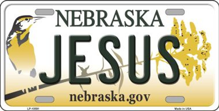 Jesus Nebraska Background Metal Novelty License Plate