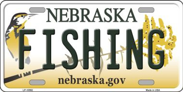 Fishing Nebraska Background Metal Novelty License Plate