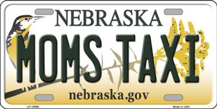 Moms Taxi Nebraska Background Metal Novelty License Plate