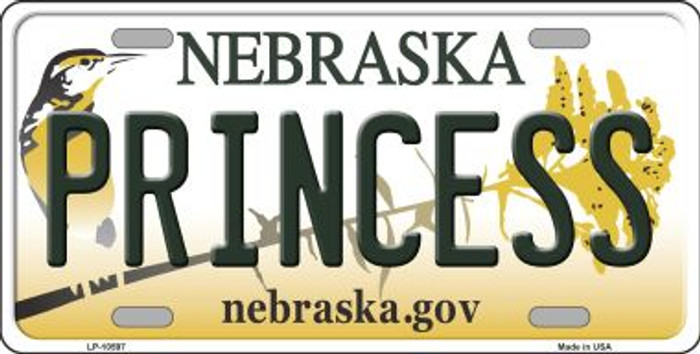 Princess Nebraska Background Metal Novelty License Plate