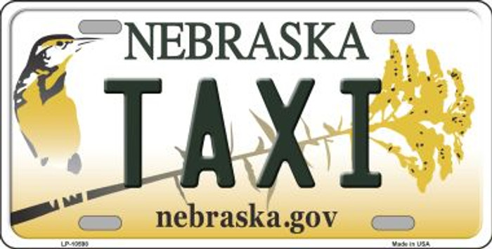 Taxi Nebraska Background Metal Novelty License Plate