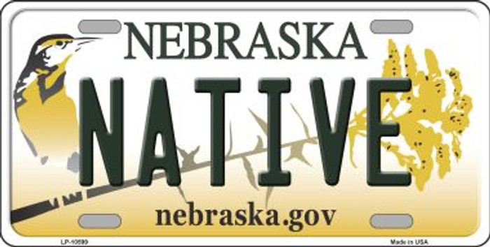 Native Nebraska Background Metal Novelty License Plate