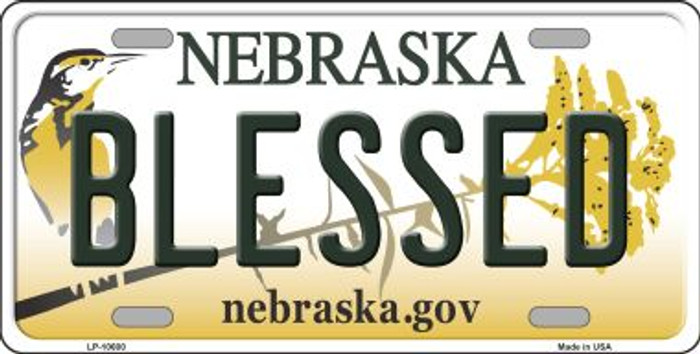 Blessed Nebraska Background Metal Novelty License Plate