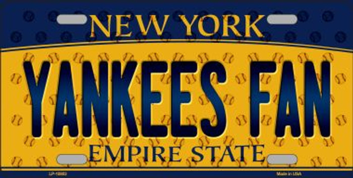 Yankees Fan New York Background Novelty Metal License Plate