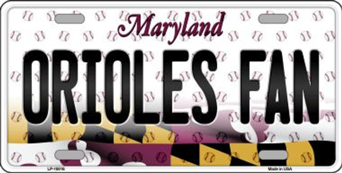 Orioles Fan Maryland Background Novelty Metal License Plate