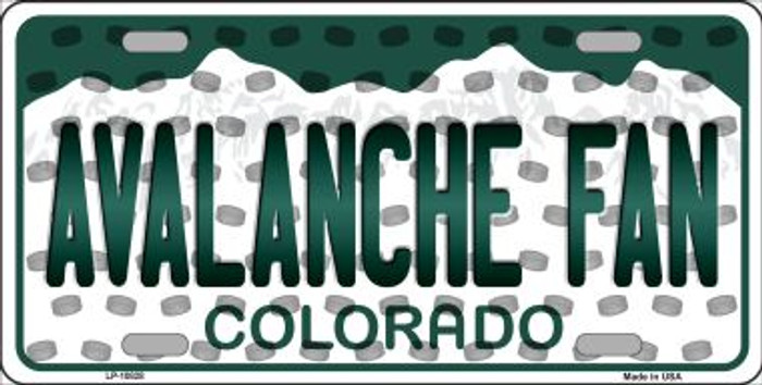Avalanche Fan Colorado Background Novelty Metal License Plate