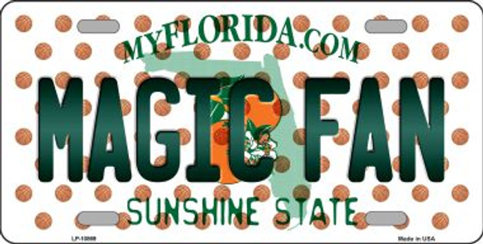 Magic Fan Florida Background Novelty Metal License Plate