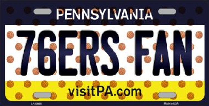 76ERS Fan Pennsylvania Background Novelty Metal License Plate