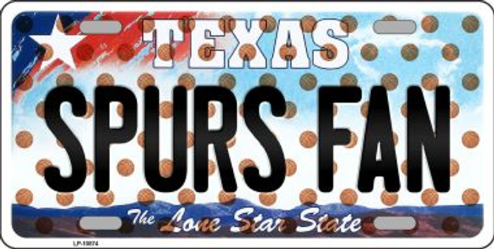 Spurs Fan Texas Background Novelty Metal License Plate