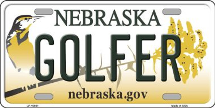 Golfer Nebraska Background Metal Novelty License Plate