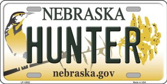 Hunter Nebraska Background Metal Novelty License Plate