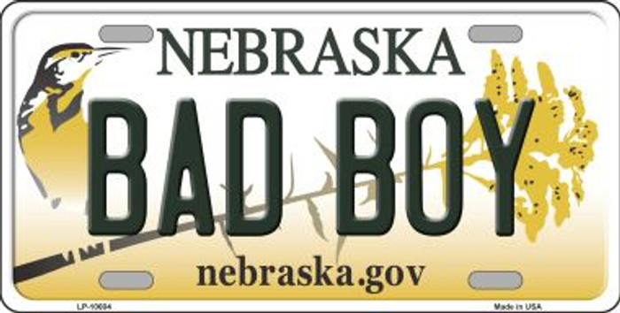 Bad Boy Nebraska Background Metal Novelty License Plate