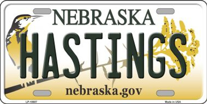 Hastings Nebraska Background Metal Novelty License Plate