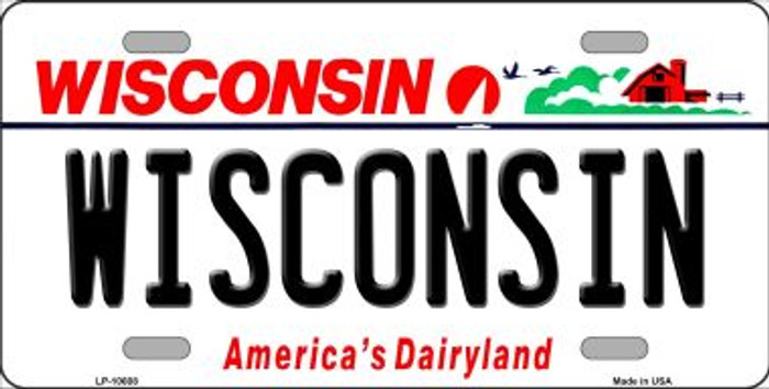 Wisconsin Background Metal Novelty License Plate
