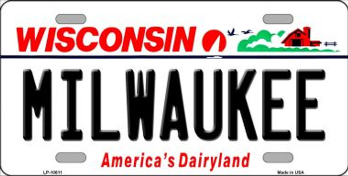 Milwaukee Wisconsin Background Metal Novelty License Plate