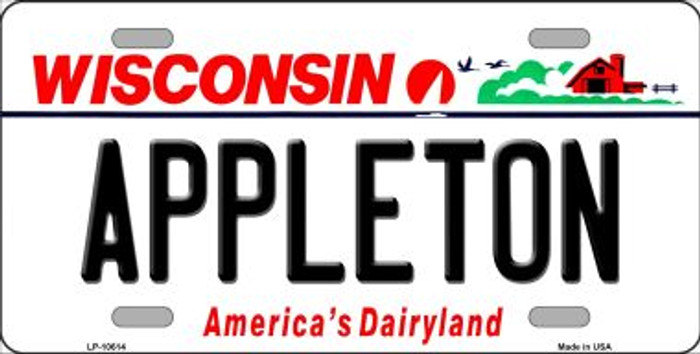 Appleton Wisconsin Background Metal Novelty License Plate