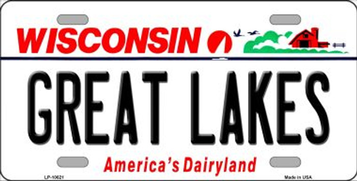Great Lakes Wisconsin Background Metal Novelty License Plate