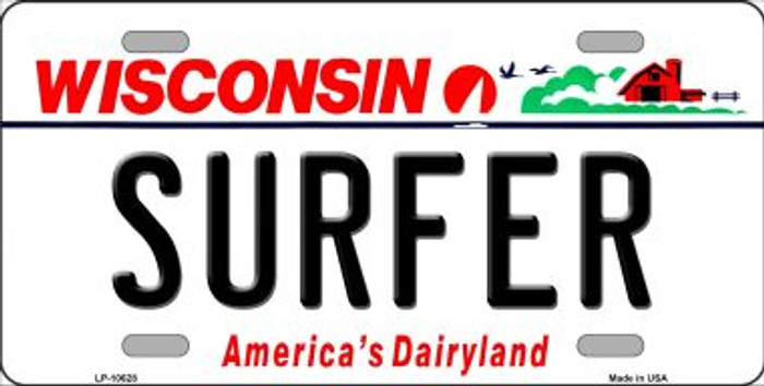 Surfer Wisconsin Background Metal Novelty License Plate