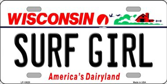 Surf Girl Wisconsin Background Metal Novelty License Plate